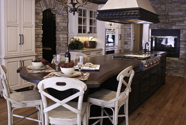 Distressed Walnut Countertop Traditional Kitchen