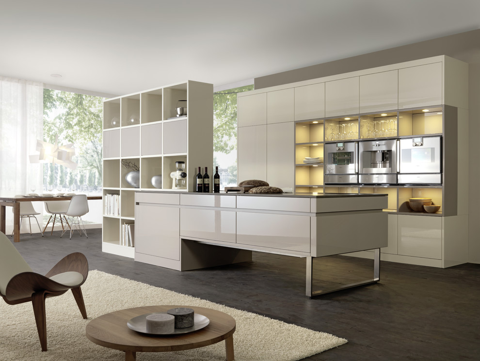 Minimalist galley open concept kitchen photo in Boston with stainless steel appliances, open cabinets and white cabinets