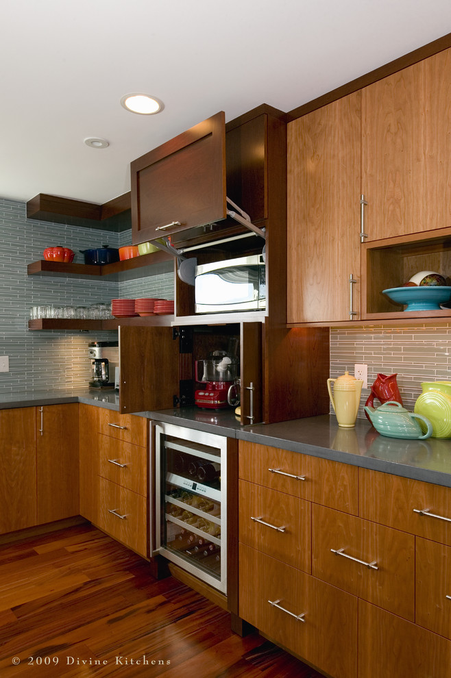 Example of a huge trendy u-shaped dark wood floor eat-in kitchen design in Boston with open cabinets, dark wood cabinets, concrete countertops, stainless steel appliances, an undermount sink and an island