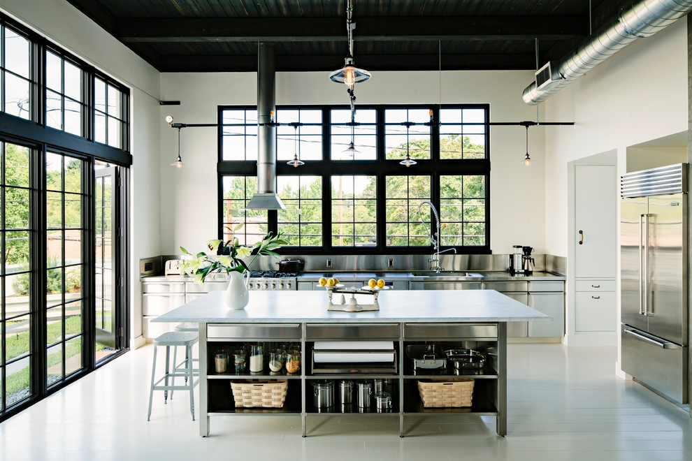 Urban kitchen photo in Portland with an integrated sink, open cabinets, stainless steel cabinets, metallic backsplash, metal backsplash, stainless steel appliances and marble countertops