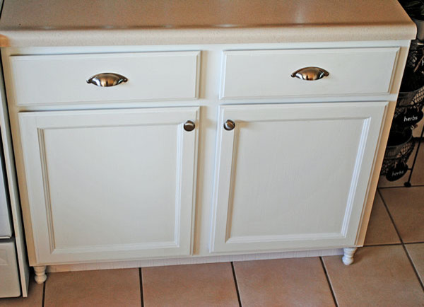 Diy kitchen cabinet feet eclectic kitchen by at the picket fence for Kitchen cabinets with legs