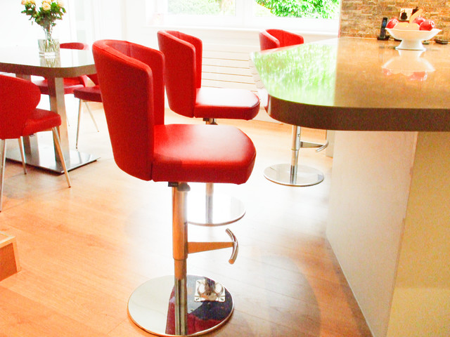 Doris Chairs With Matching Doris Stools In Red Leather Contemporary Kitch