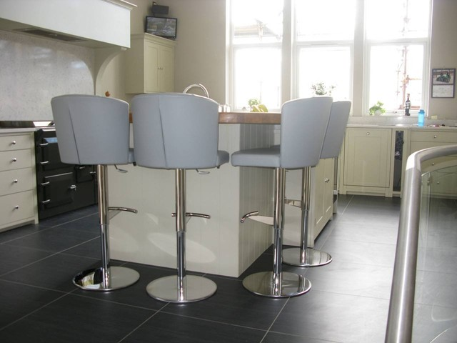 Doris S Stools In Winter Grey Leather Contemporary Kitchen