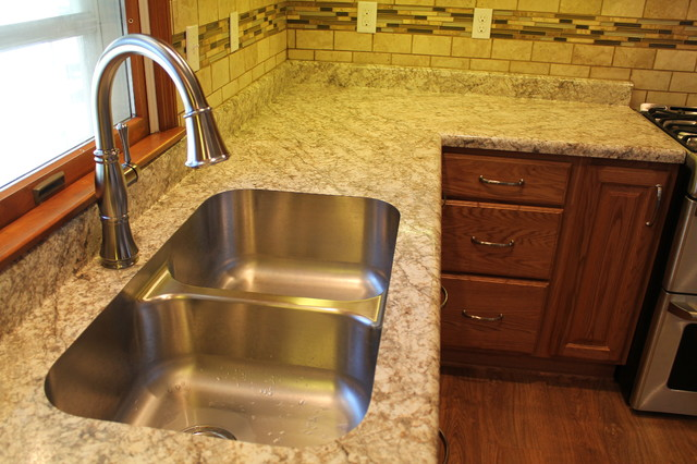Double bowl recessed stainless steel sink & faucet traditional-kitchen