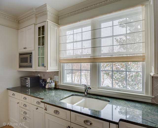 Captivating Double Kitchen Window Gets A Sheer Roman Shade Contemporary Kitchen