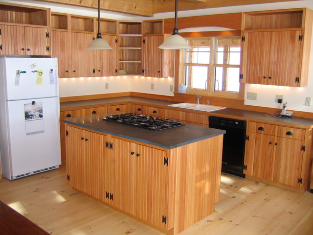 Douglas fir beadboard cabinets traditional kitchen for Beadboard kitchen cabinets