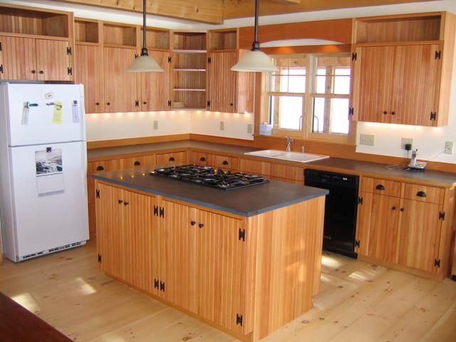 Douglas fir beadboard cabinets traditional kitchen for Bead board kitchen cabinets