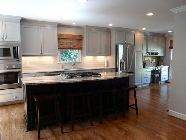 Huge Transitional Single Wall Medium Tone Wood Floor Eat In Kitchen Photo Birmingham