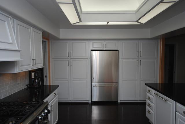 Dove White/ Black Galaxy contemporary-kitchen