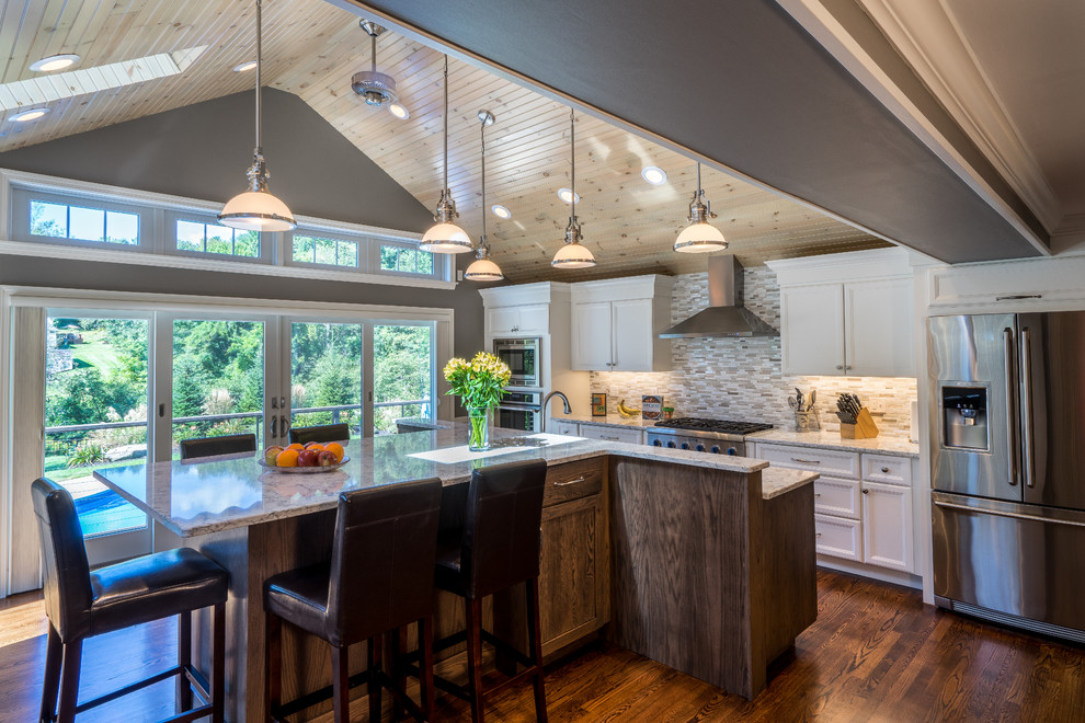 Example of a transitional kitchen design in Boston