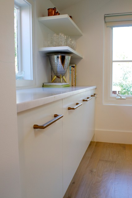 Example of a minimalist kitchen design in Denver