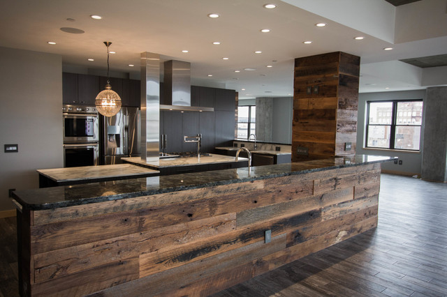 Downtown condo industrial contemporary contemporary for Industrial modern kitchen designs