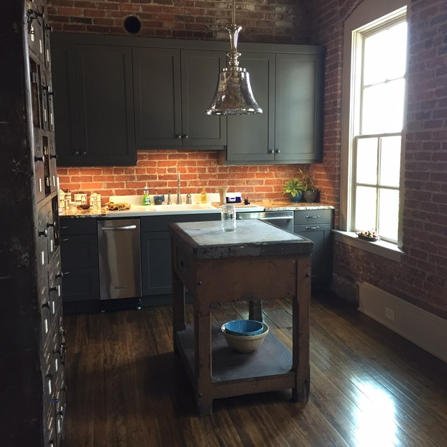 Downtown Durham, NC Loft Renovation Of A 100 Yr. Old Building  Industrial Kitchen