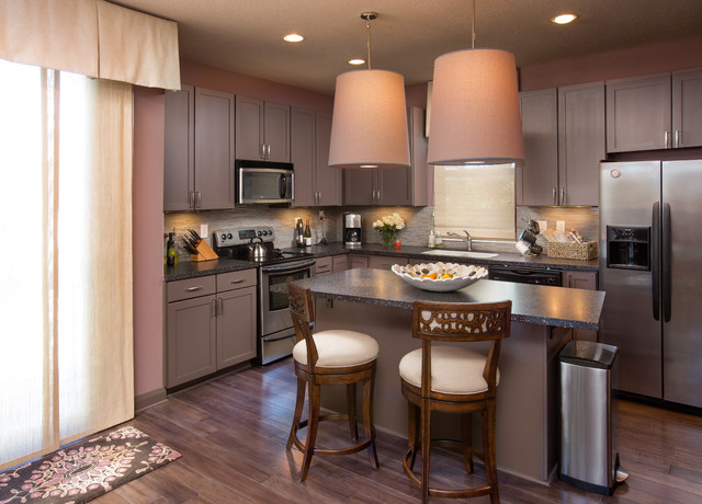 Downtown townhouse modern kitchen transitional kitchen for Townhouse kitchen designs