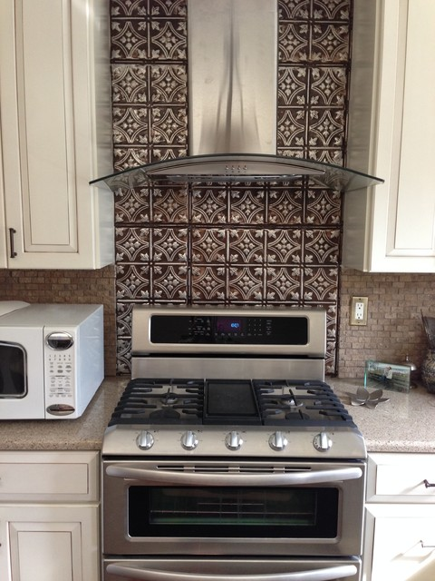 tin tiles for kitchen backsplash dramatic tin backsplash contemporary kitchen tampa 26044