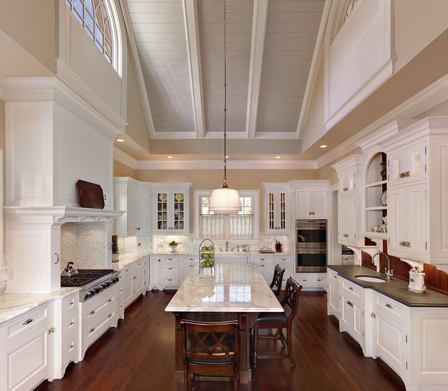 Dramatic vaulted ceiling in kitchen traditional for Vaulted ceiling kitchen designs
