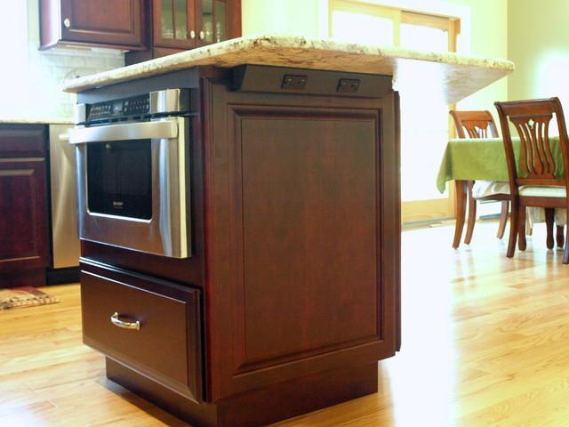 Drawer Microwave In Islandtraditional Kitchen Newark