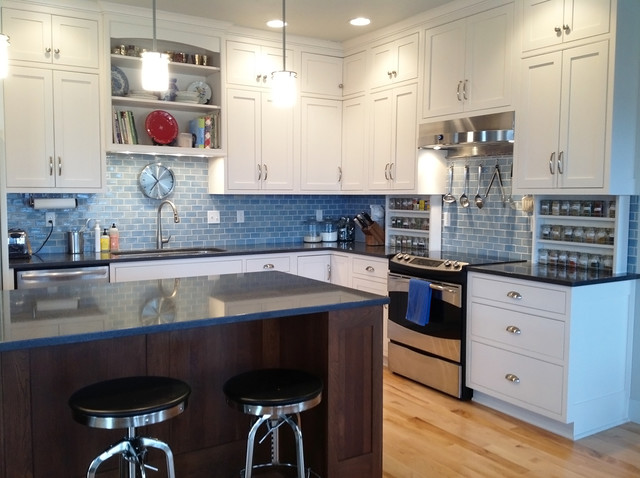 Dreamy Blue Subway Tile Kitchen Traditional Kitchen Other Metro