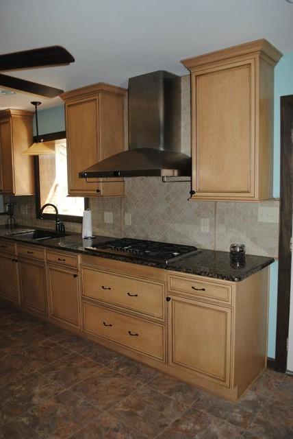 Maple Kitchen Cabinets Backsplash duraceramic floors, maple cabinets, baltic brown granite with tile