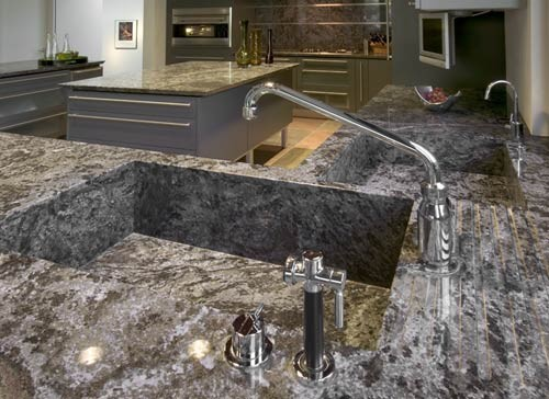 Dynamic Blue Granite Countertop/Sink Modern Kitchen