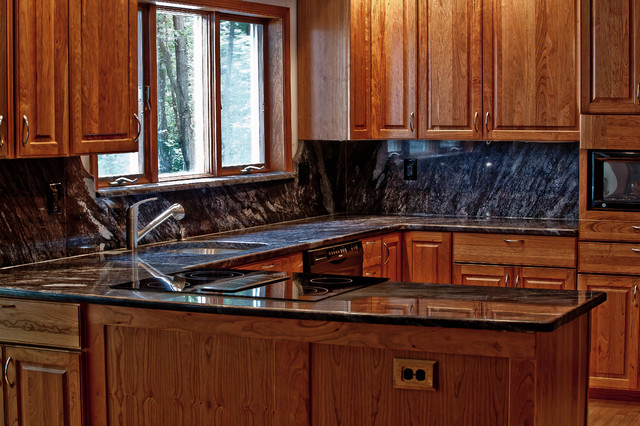Dynamic Blue Granite Kitchen Traditional