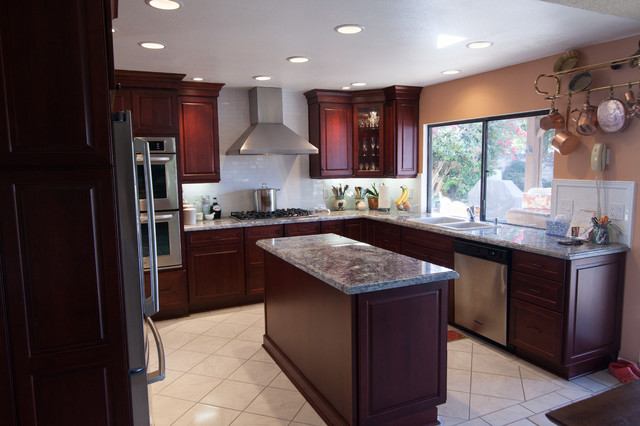 , Burgundy finish  Traditional  Kitchen  los angeles  by Kitchens