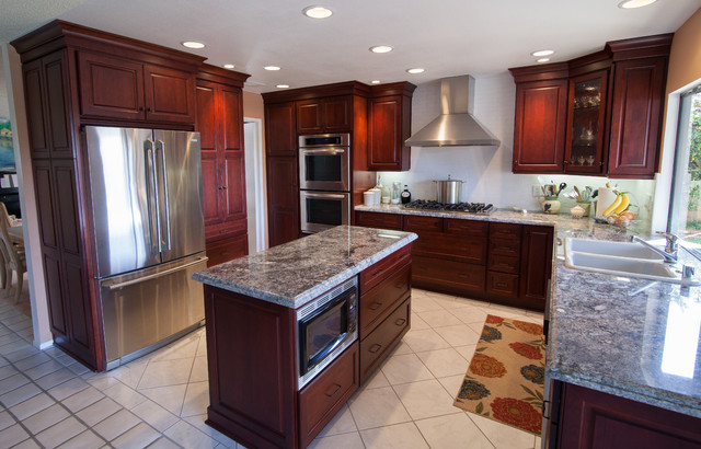 Dynasty alder wood burgundy finish traditional for Burgundy kitchen cabinets pictures