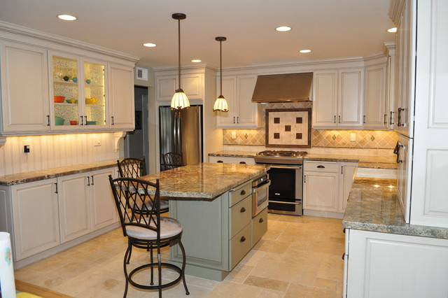 Dynasty Brookside Sq. Maple Opaque Oyster Cognac traditional-kitchen
