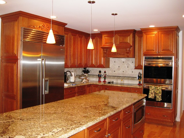 Dynasty cherry cabinetry traditional kitchen new for Bathroom decorating ideas cherry cabinets