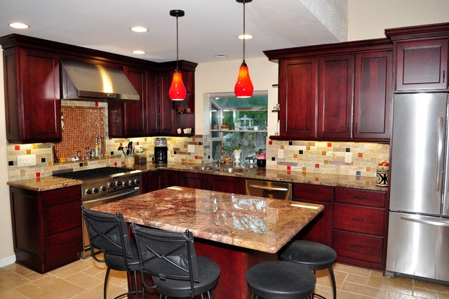 Dynasty Cherry Wood Burgundy Onyx Traditional Kitchen