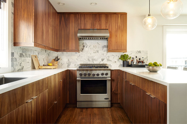 Handsome Wood And White Kitchens, Natural Wood Kitchen Cabinets With White Countertops