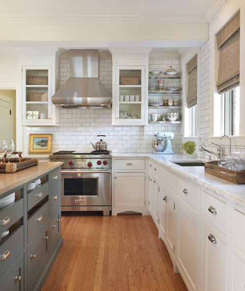Shades of neutral gray white kitchens choosing for Gray and white kitchen decor