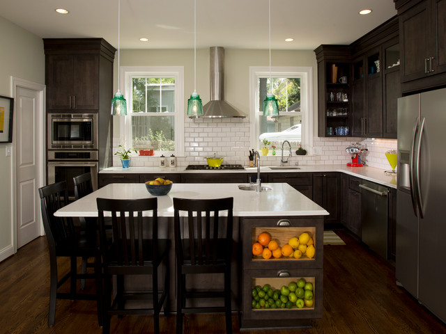 Eat In Kitchen With Island Transitional Kitchen Dc