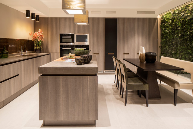Inspiration For A Contemporary L Shaped Beige Floor Eat In Kitchen Remodel  In London