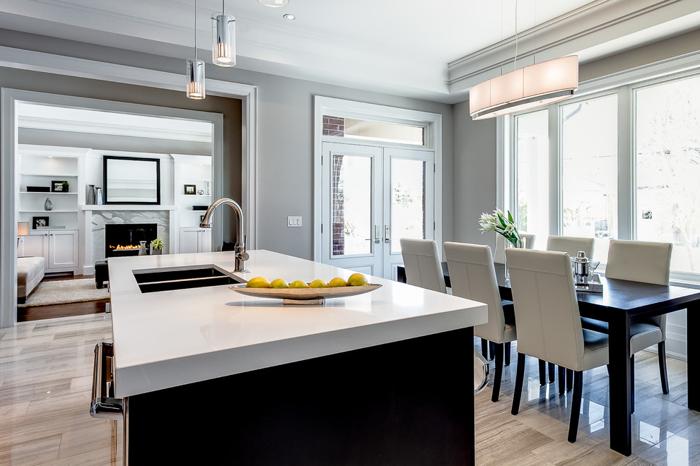 Example of a transitional kitchen design in Toronto