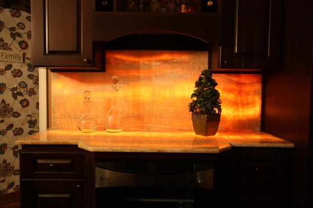 Lit Onyx Backsplash Eclectic Kitchen Cleveland By