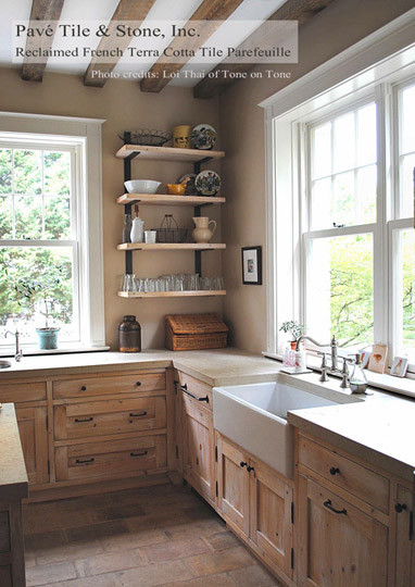 French Reclaimed Terra Cotta Tile Parefeuille eclectic-kitchen
