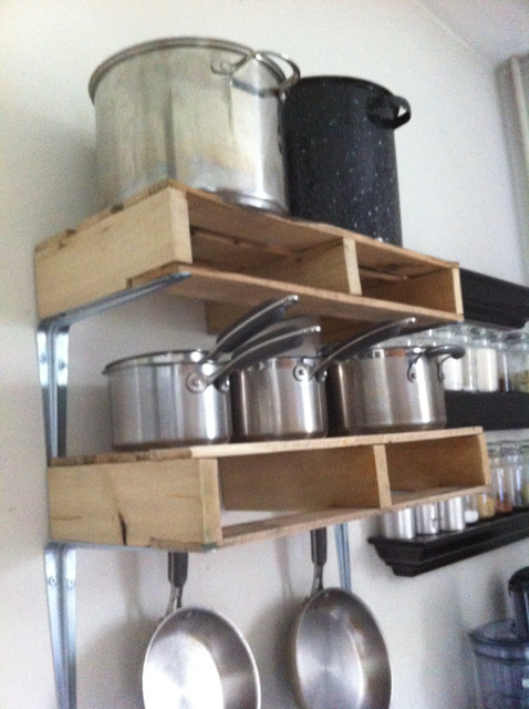 DIY Pallet Kitchen Pot Rack eclectic kitchen