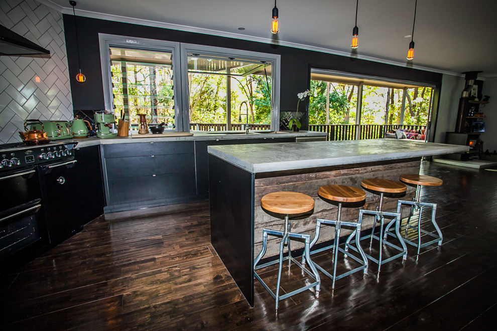 Eclectic Style Kitchen. Concrete Bench-top. Recycled ...