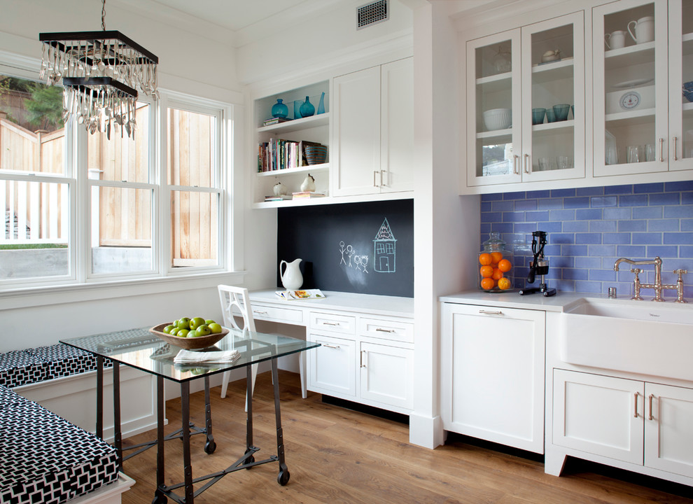 Inspiration for a victorian kitchen remodel in San Francisco with a farmhouse sink