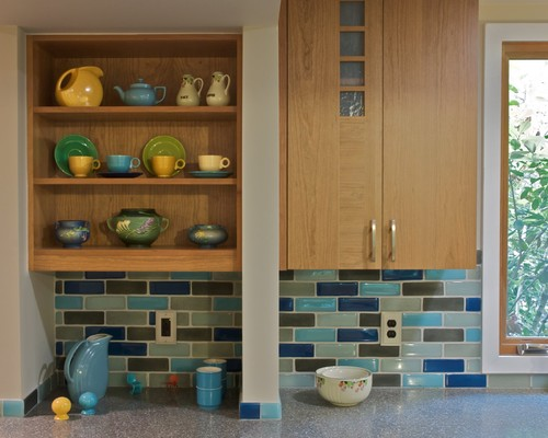 show me your multi-colored subway tile backsplash
