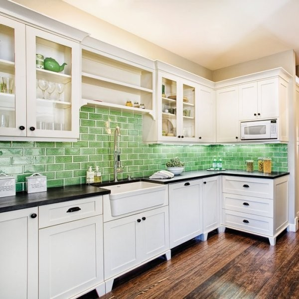 Kitchen Backsplash Green ecofriendly kitchen: recycled tile for backsplashes