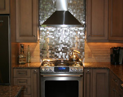 Metal Mosaic Tile Installations contemporary kitchen