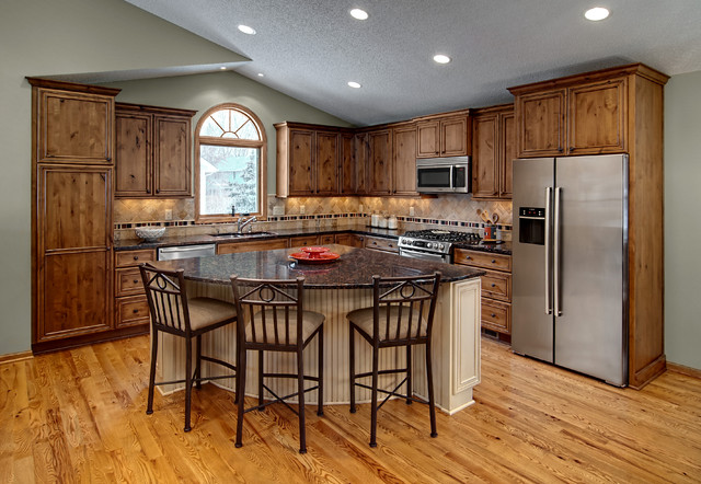 Eden prairie kitchen rustic kitchen minneapolis by for L shaped kitchen with island layout