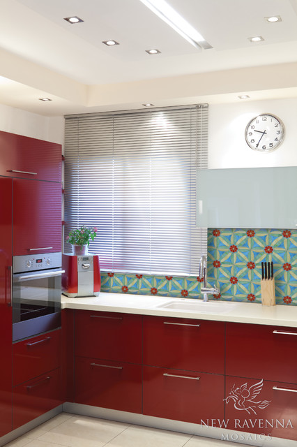 Edie Jewel Glass Mosaic eclectic-kitchen