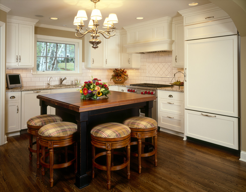 Inspiration for a timeless l-shaped dark wood floor kitchen remodel in Minneapolis with subway tile backsplash, shaker cabinets, white cabinets, white backsplash, paneled appliances and wood countertops