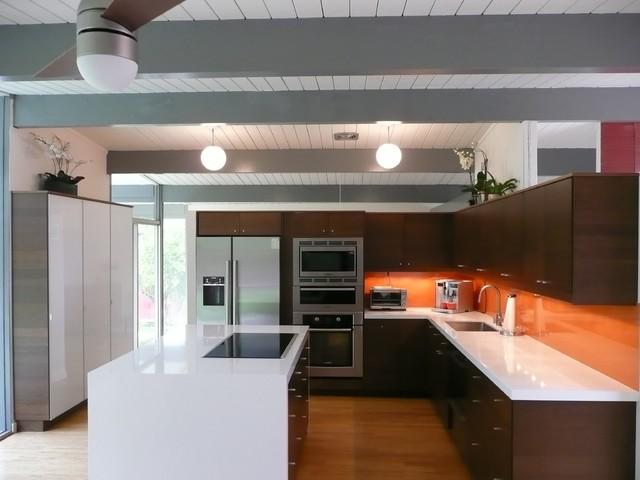 Eichler Kitchen Remodel with Painted Glass Backsplash modern kitchen