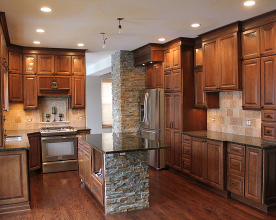 Stacked Stone Island Kitchen Design Ideas Remodels Photos