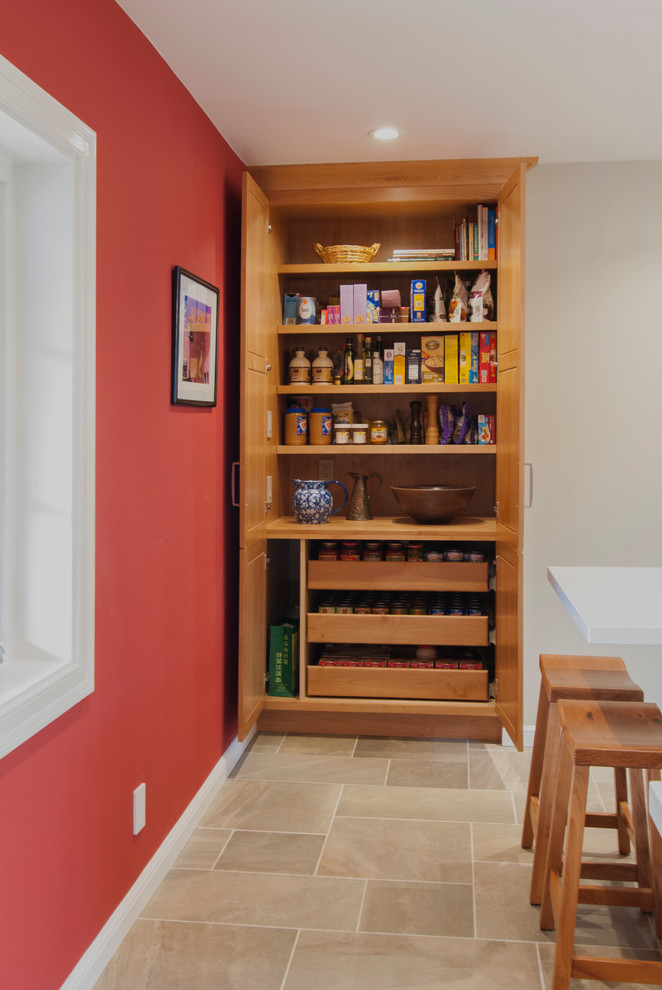 Kitchen pantry - small transitional l-shaped porcelain tile kitchen pantry idea in Seattle with a single-bowl sink, recessed-panel cabinets, light wood cabinets, quartz countertops, multicolored backsplash, mosaic tile backsplash, stainless steel appliances and an island