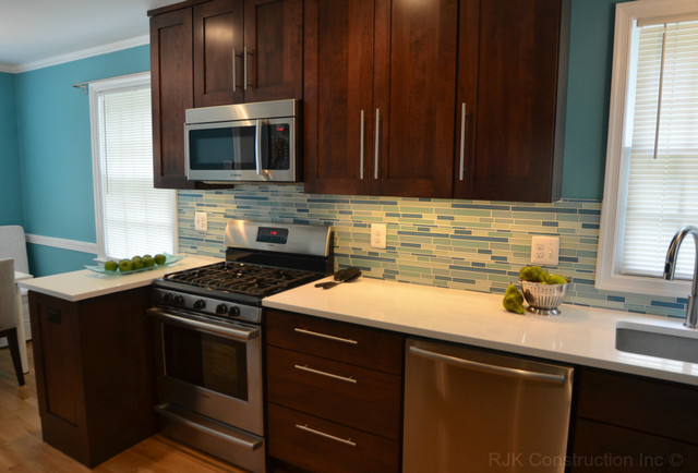 Electric blue kitchen modern kitchen dc metro by for Blue and brown kitchen